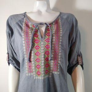 💋 Boho chambray embroider tunic cotton top 70s